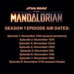 The Mandalorian Season 1 Episode Airdates Revealed