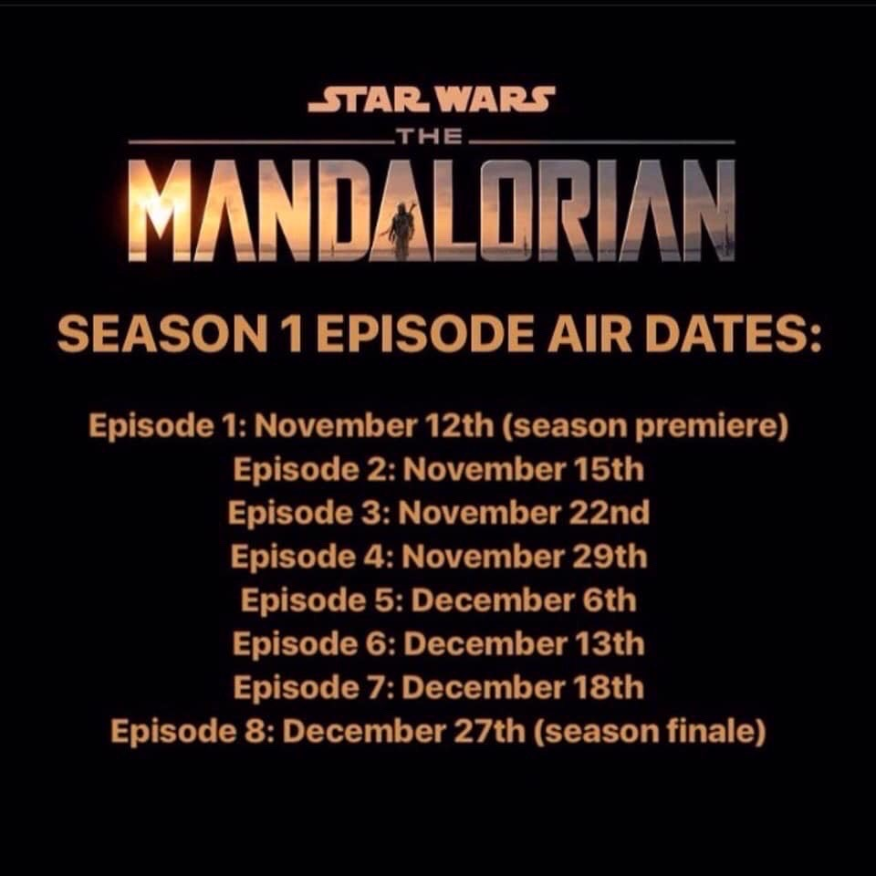 The Mandalorian Season 1 Episode Airdates Revealed Star Wars Time